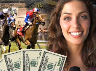 Horse Racing Betting Woman winning cash and smiling